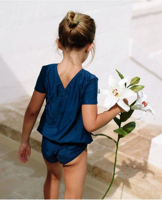 Maillot de bain une pièce anti-uv bleu Blueberry pour fille de Canopea