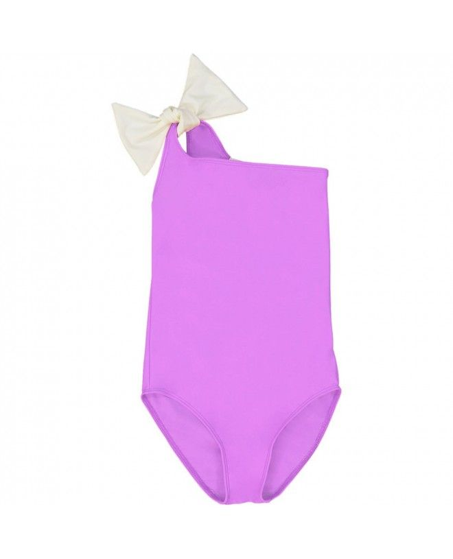 Fille portant un maillot de bain une piece anti-uv rose Orchid de Canopea