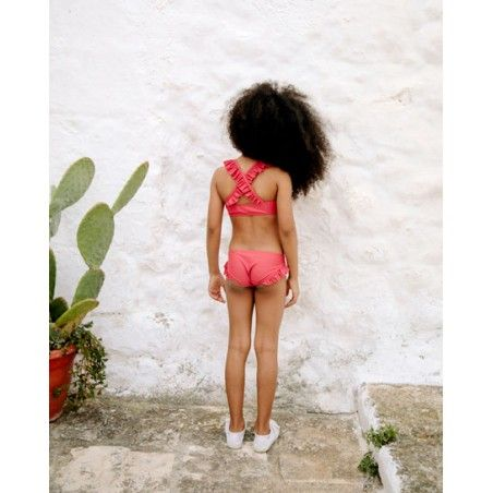 Grenada red sun protective bikini bottom with ruffles for girl