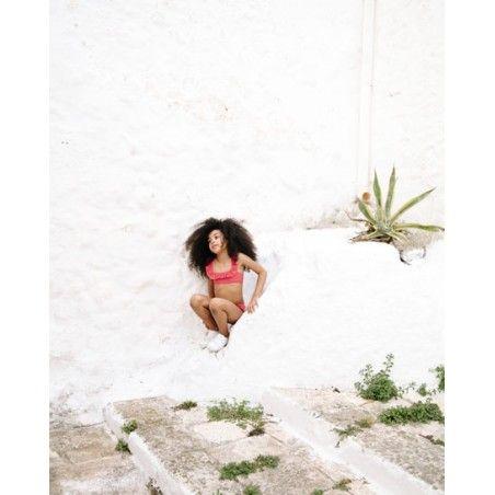 Grenada red sun protective bikini with ruffles for girls