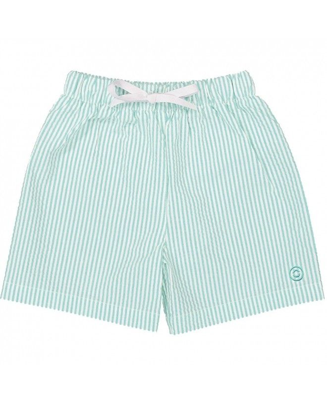 aqua green seersucker swim shorts for boys by Canopea