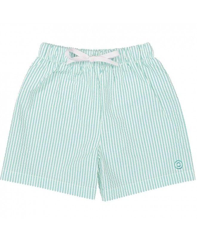 Short en seersucker vert Aqua pour garçon de Canopea