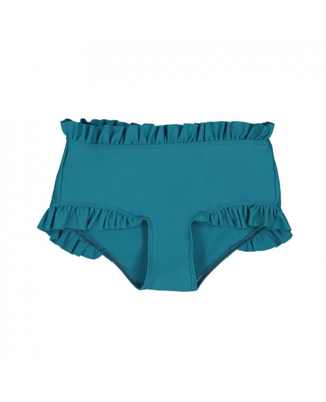 Sun protective bikini bottom with ruffles for girl in Bari green by Canopea