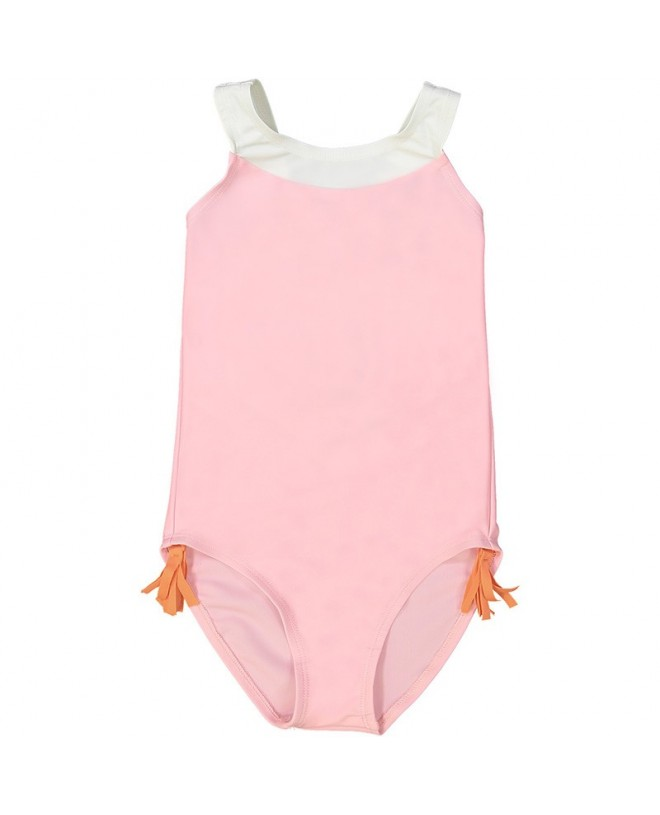 Pink sun protective one piece swimsuit for girls with V shaped back