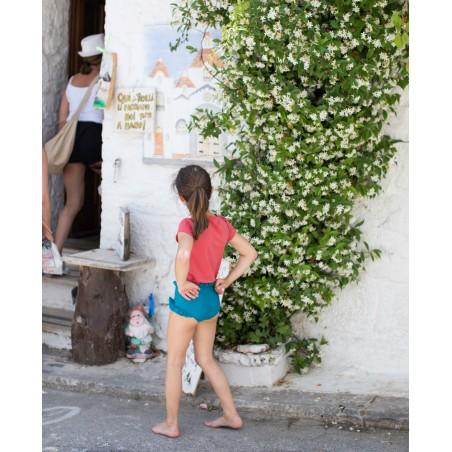 Grenada red sun protective rashguard for girl and baby