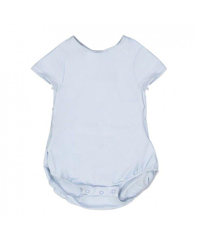 Maillot de bain anti-UV bébé manches courtes couleur bleu Ash