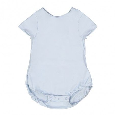 short sleeve baby sun protective swimsuit in Ash blue by Canopea