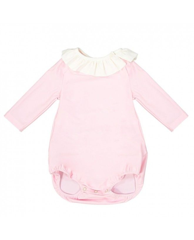 Long sleeve baby sun protective swimsuit in Dragee pink by Canopea