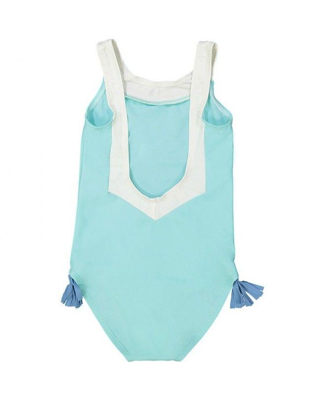 maillot de bain une piece anti-uv vert aqua avec dos en V pour filles