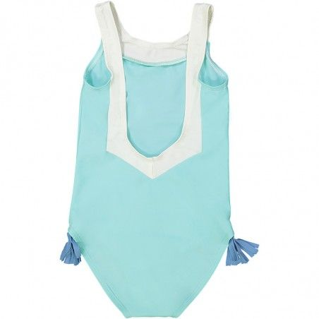 aqua green sun protective swimwear for girls with V shaped back