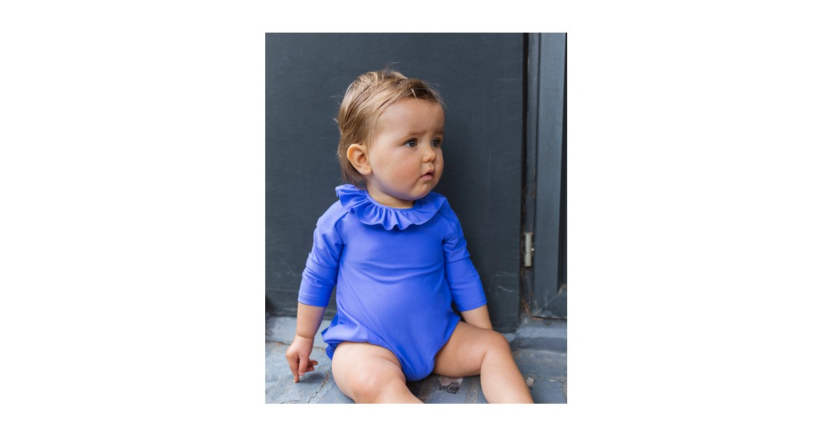 Long sleeve baby sun protective swimsuit in Indigo blue by Canopea