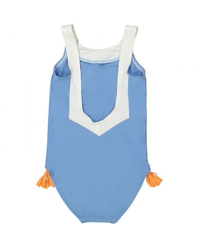 maillot de bain une piece anti-uv bleu ardoise avec dos en V pour filles