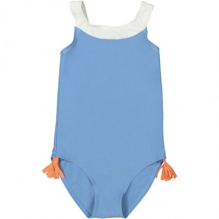 Slate blue sun protective one piece swimsuit for girls with V shaped back
