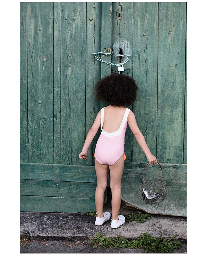 maillot de bain une piece anti-uv rose dragée dos en V pour filles