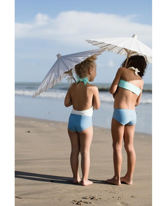maillot de bain une piece anti-uv bi-couleur ardoise et aqua avec dos ouvert pour filles