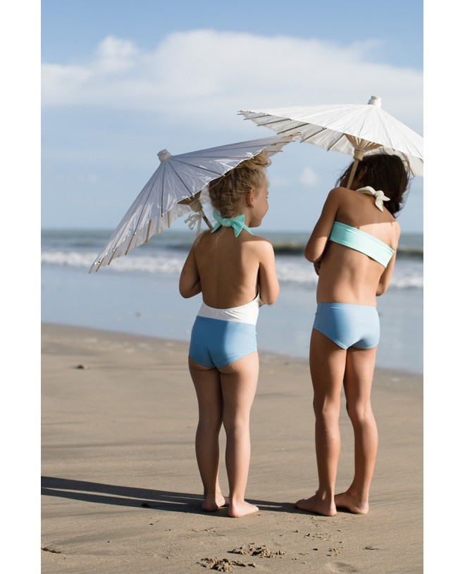 Bi-color slate aqua sun protective one piece swimsuit for girls with open back