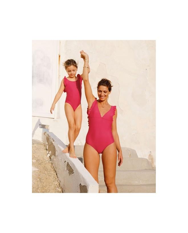 Maillot de bain une pièce anti-uv rouge Raspberry pour fille et bébé de Canopea x Smallable