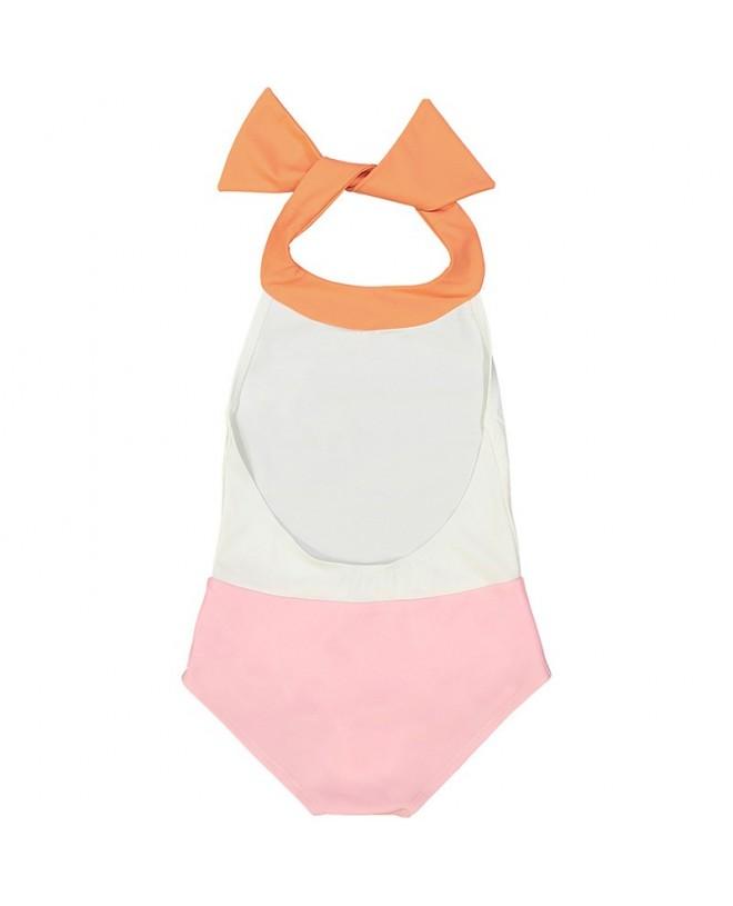 maillot de bain une piece anti-uv bi-couleur dragee et abricot avec dos ouvert pour filles