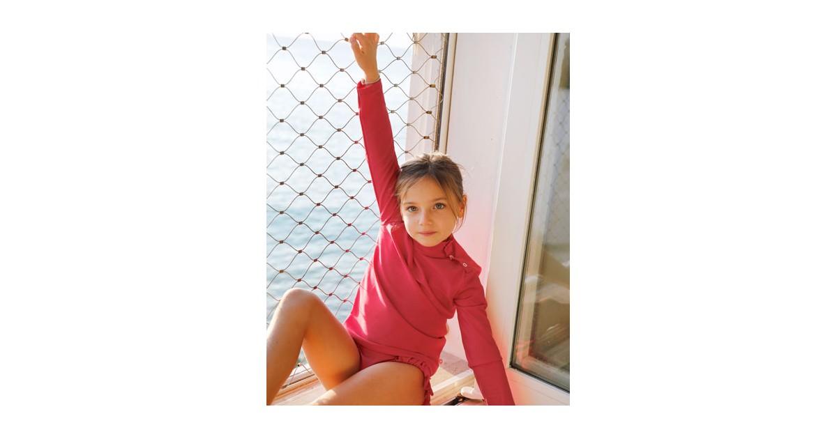 T-shirt anti UV Canopea rouge Raspberry pour enfant, fille et bébé