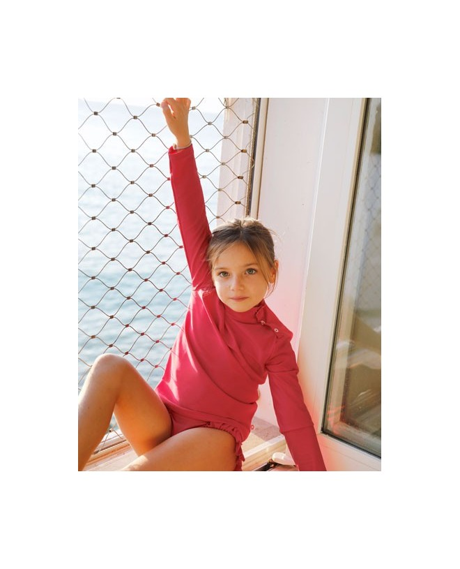 Sun protective rashguard for girl, children and baby in Raspberry red by Canopea x Smallable