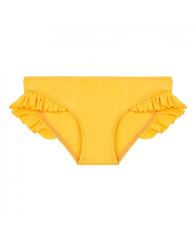Sunflower yellow sun protective bikini bottom with ruffles for girl