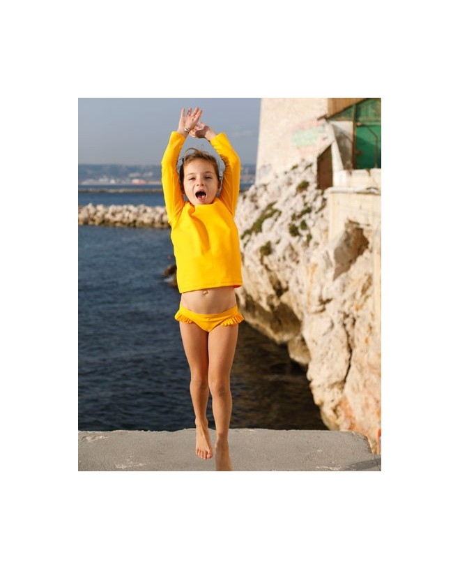 Sunflower yellow sun protective bikini bottom with ruffles for girl