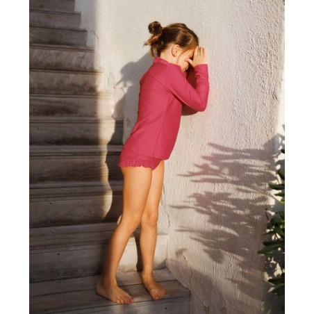 Culotte de maillot de bain anti UV couleur rouge Raspberry pour fille