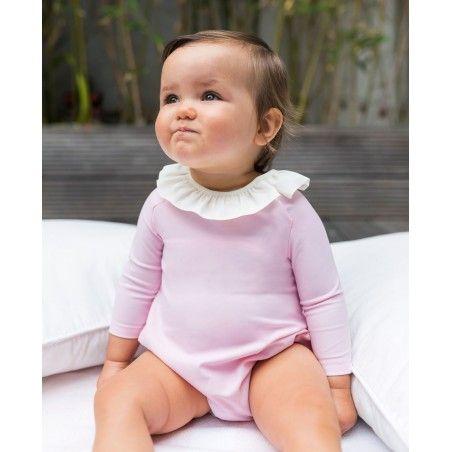 Maillot de bain anti-UV bébé manches longues couleur rose Dragee de Canopea