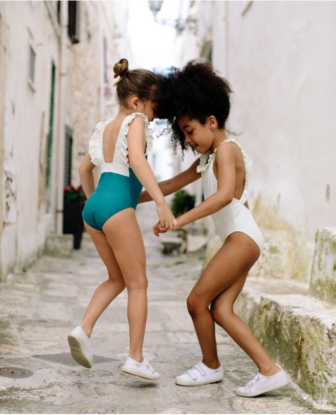 Maillot de bain une pièce anti-uv vert Bari pour fille et bébé de Canopea