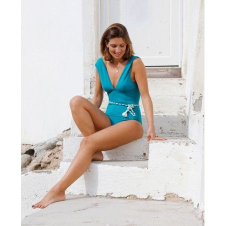 Sun protective swimsuit for women PALERMA in Bari green by Canopea