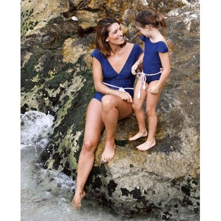 Sun protective swimsuit for women PALERMA in Blueberry blue by Canopea