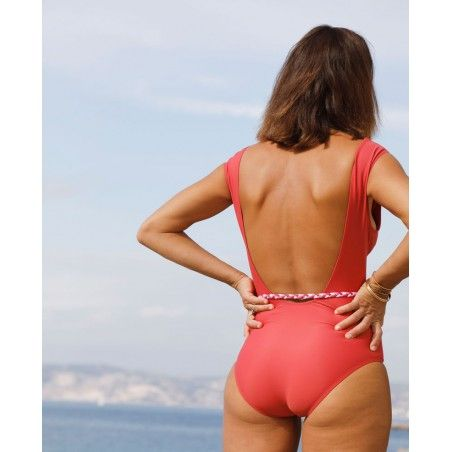 Sun protective swimsuit for women PALERMA red Grenada by Canopea