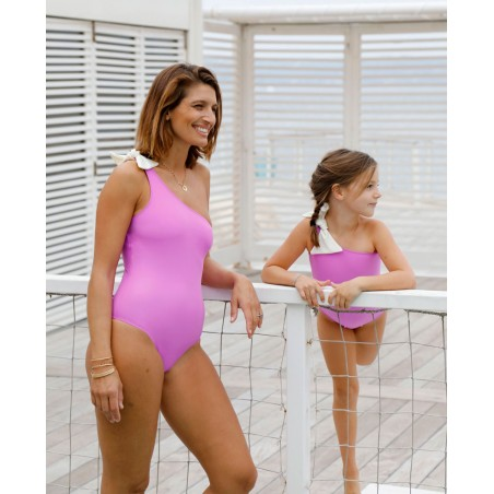Maillot anti-UV mère-fille ASTRA rose Orchid de Canopea