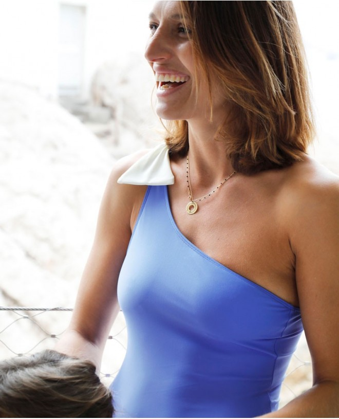 Maillot anti-UV mère file ASTRA bleu indigo de Canopea