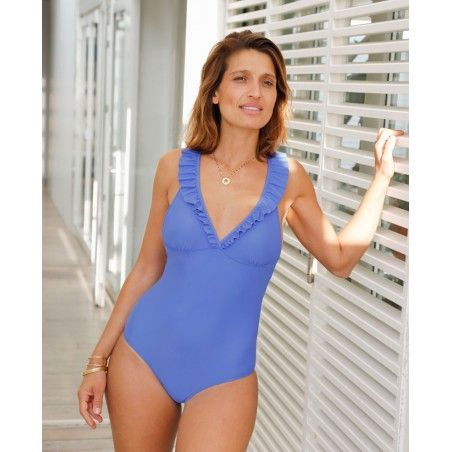 Sun protective swimsuit for mother-daughter ALANA blue Indigo by Canopea
