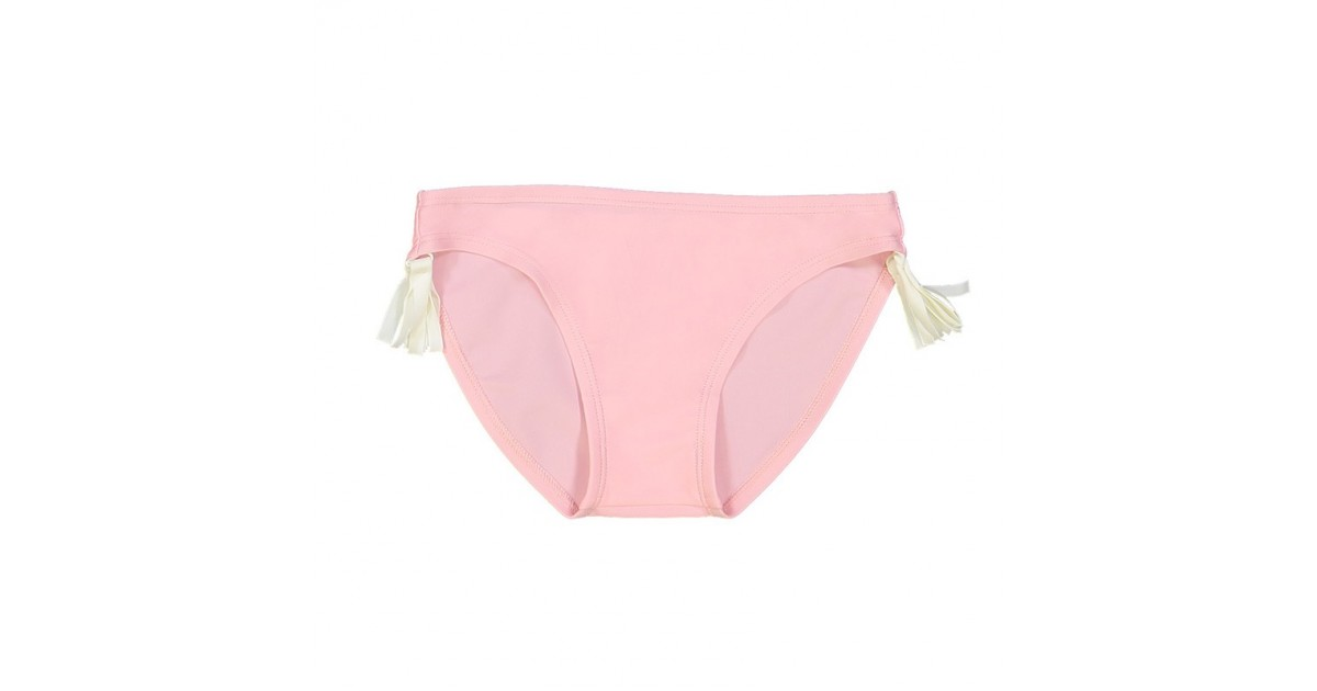 Pink bikini bottom with white tassels on each sides