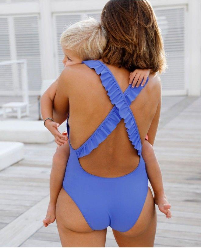 Maillot anti-UV mère fille ALANA bleu Indigo de Canopea