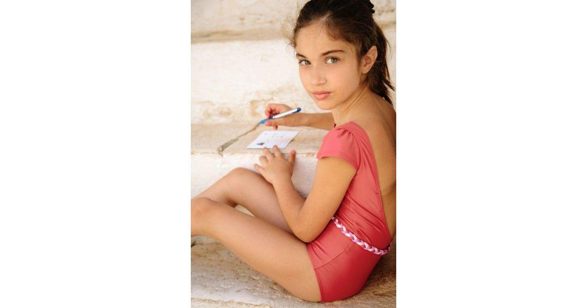 Maillot de bain une pièce anti-uv rouge Grenada pour fille de Canopea