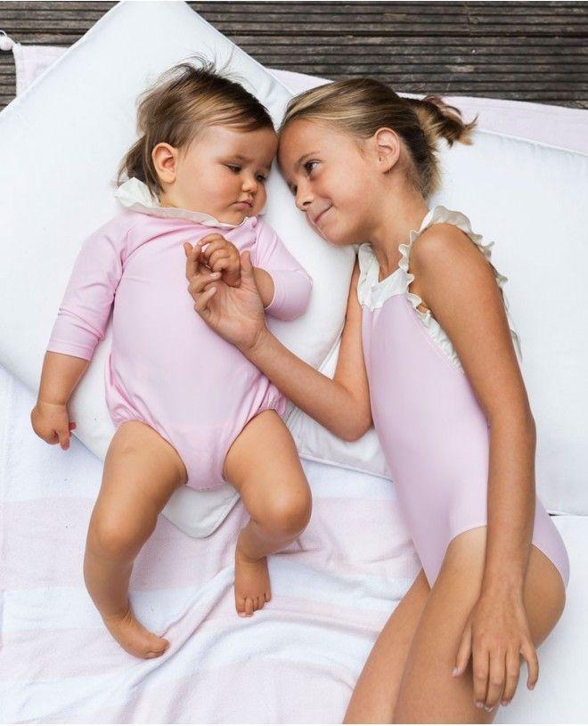 Maillot de bain une pièce anti-uv rose Dragee pour fille et bébé de Canopea