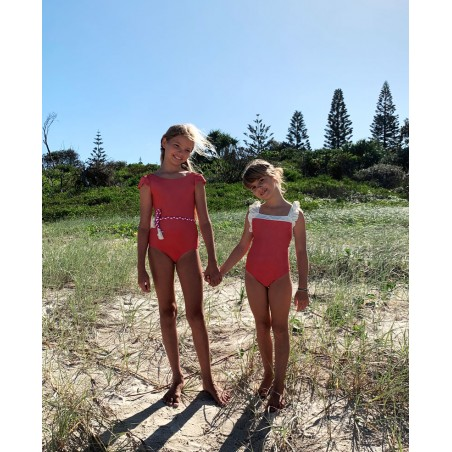Grenada red sun protective swimwear for girls and babies by Canopea