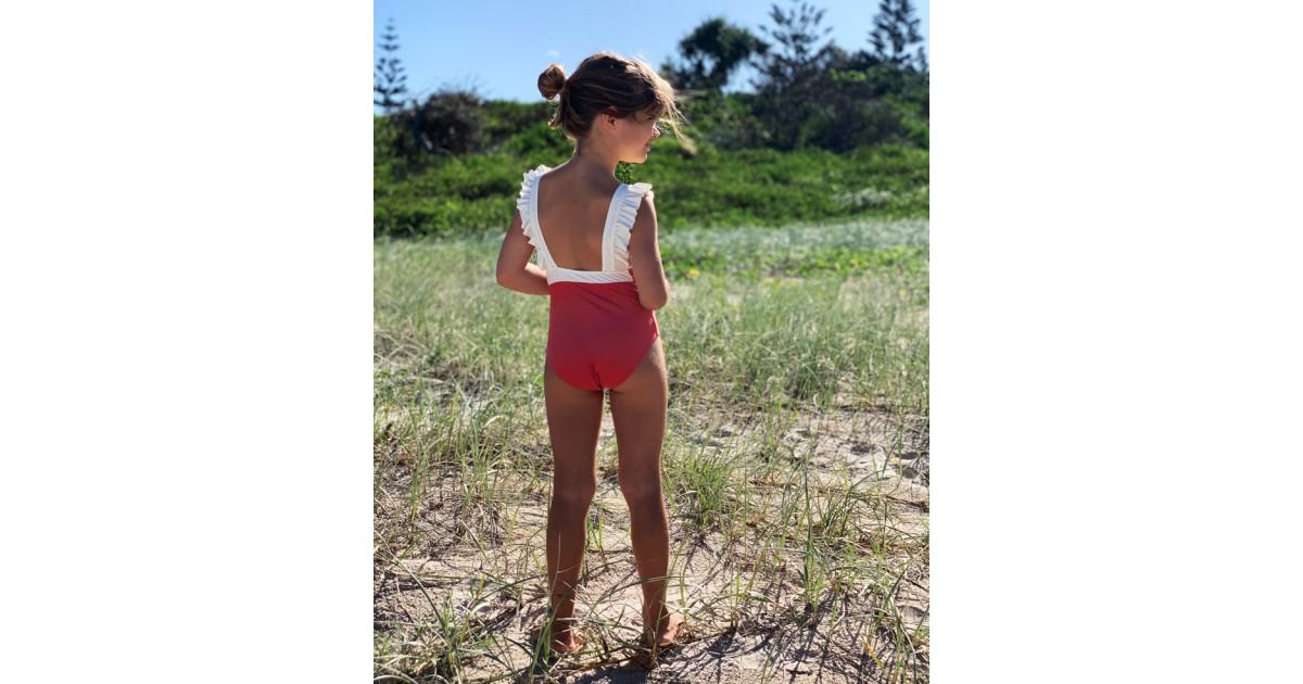 Maillot de bain une pièce anti-uv rouge Grenada pour fille et bébé de Canopea