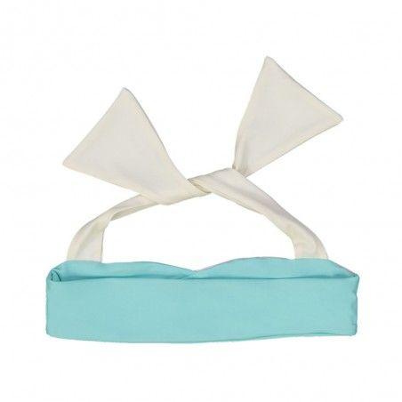 Pink aqua reversible bikini top with ivory white neck wrap