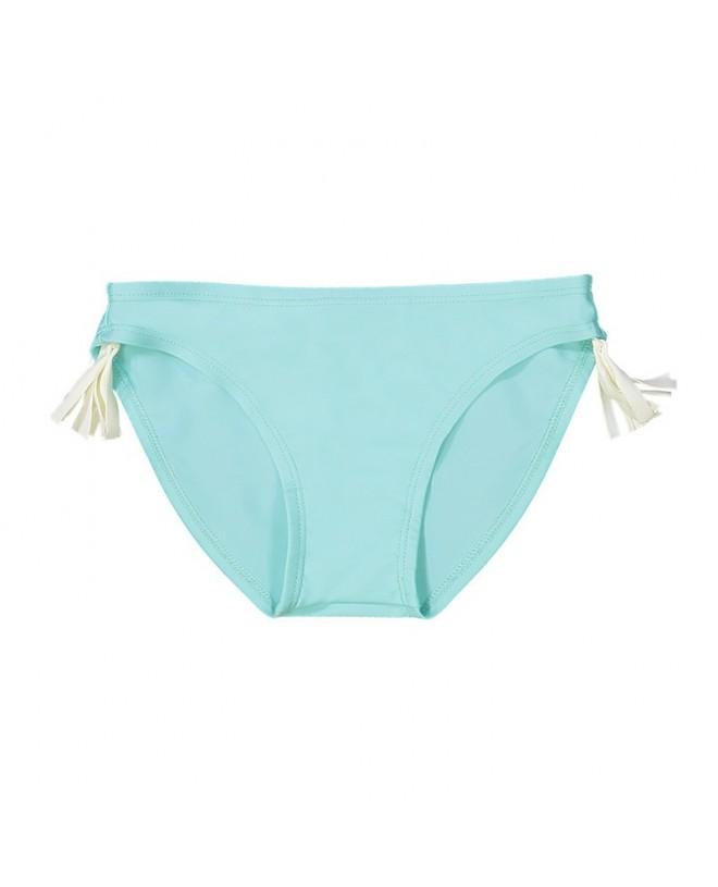 Aqua green bikini bottom with white tassels on each sides
