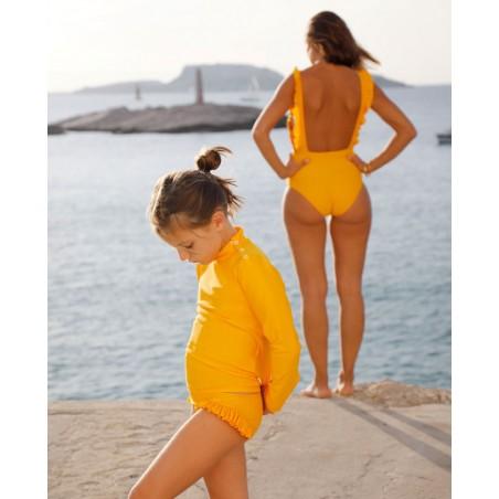 T-shirt anti UV Canopea jaune Sunflower pour enfant, fille et bébé