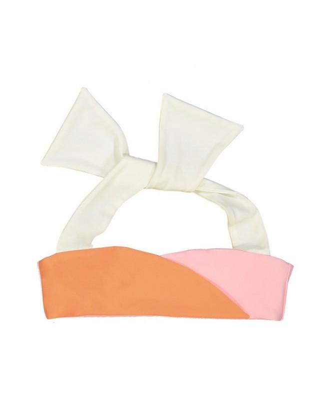 haut de bikini bi-couleur abricot rose avec tour de cou blanc