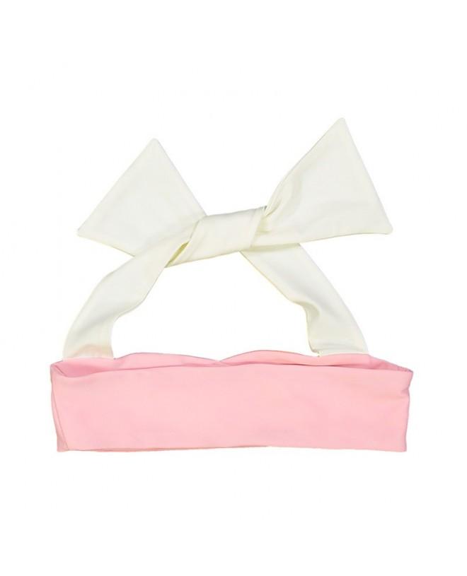 Pink abricot reversible bikini top with ivory white neck wrap