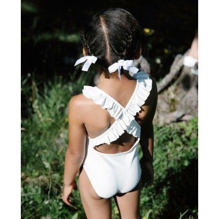 maillot de bain une-piece anti-uv ivoire avec dos croisé pour filles