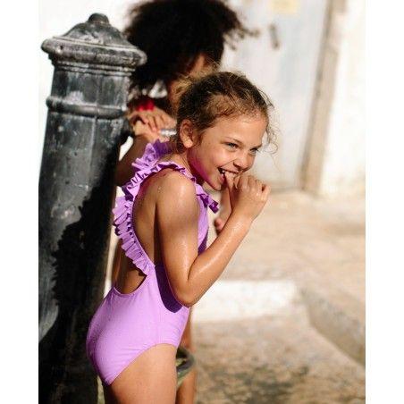 Maillot de bain une pièce anti-uv rose Orchid pour fille de Canopea