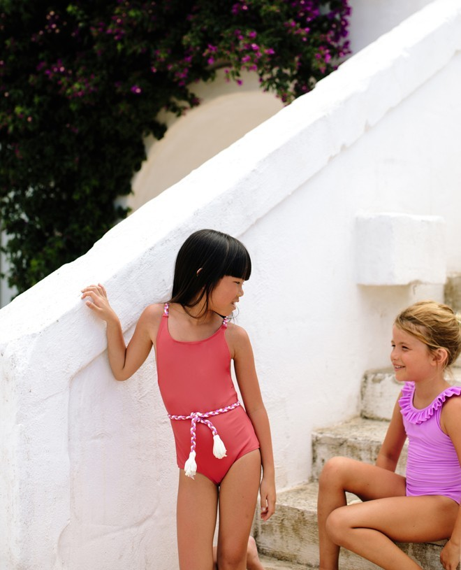 Sun protective swimwear for girls in Orchid pink by Canopea