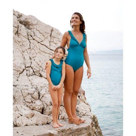 Maillot de bain une pièce anti-uv vert Bari pour fille de Canopea